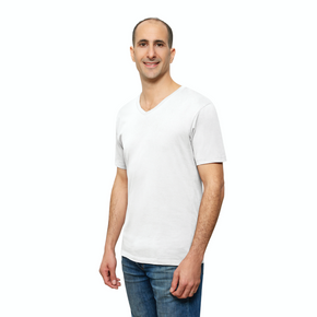 White Organic Signatures T Shirt for Men, V Neck, Short Sleeve (side view)