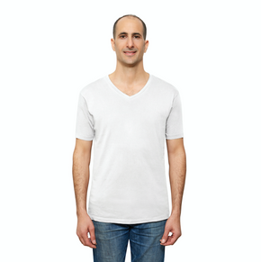 White Organic Signatures T Shirt for Men, V Neck, Short Sleeve (front view)