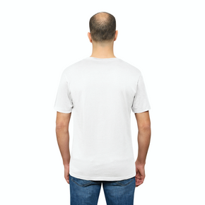 White Organic Signatures T Shirt for Men, V Neck, Short Sleeve (back view)