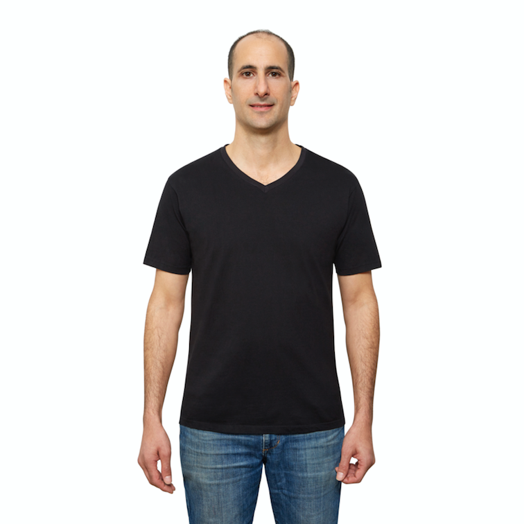Black Organic Cotton T Shirt for Men, V Neck, Short Sleeve on Model (front view)