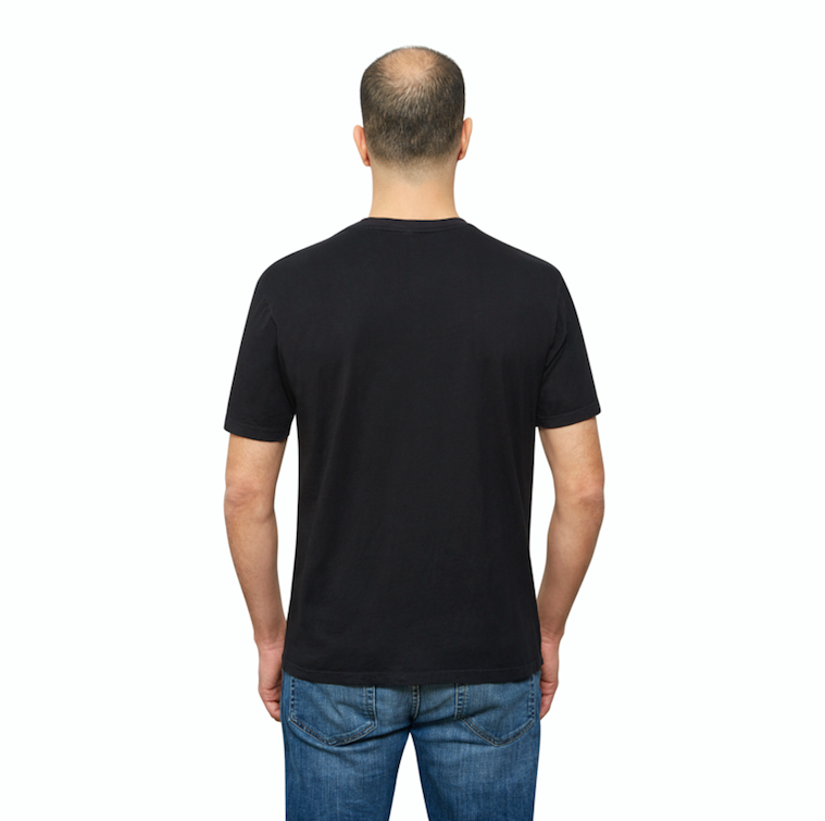 Black Organic Cotton T Shirt for Men, V Neck, Short Sleeve on Model (back view)