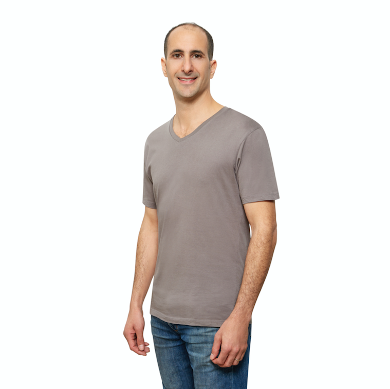 Grey Organic Signatures T Shirt for Men, V Neck, Short Sleeve (side view)