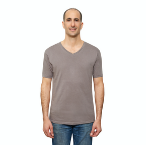 Grey Organic Signatures T Shirt for Men, V Neck, Short Sleeve (front view)