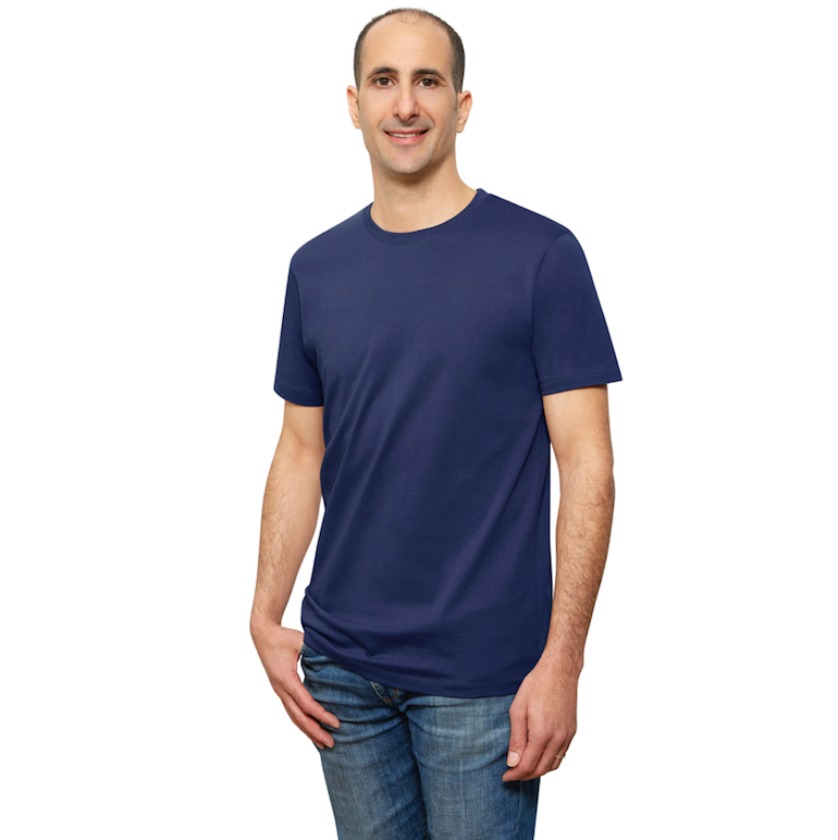 Navy Blue Organic Signatures T-Shirt For Men, Crewneck, Short Sleeve (side view)