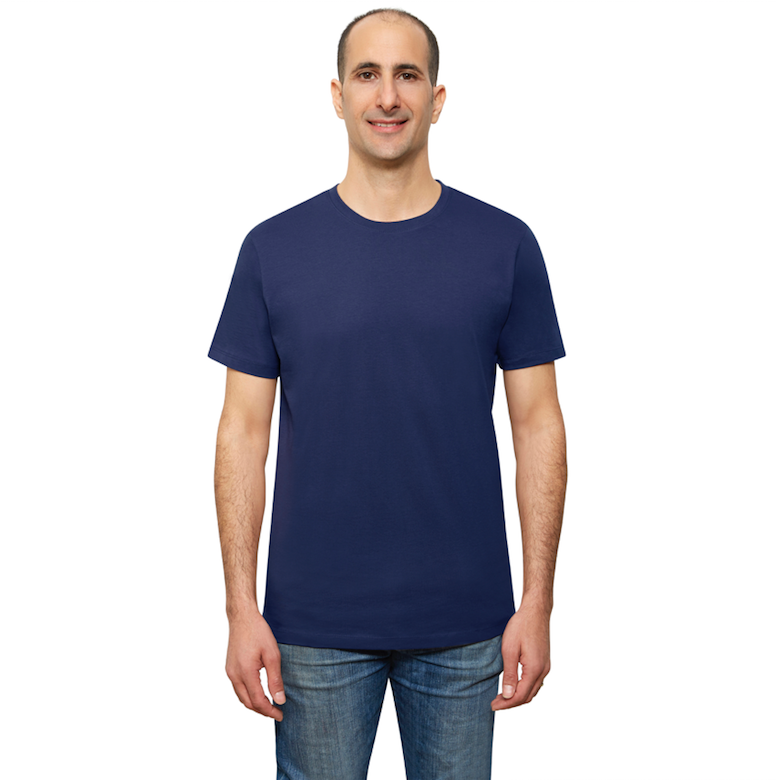 Navy Blue Organic Signatures T-Shirt For Men, Crewneck, Short Sleeve (front view)