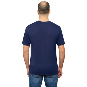 Navy Blue Organic Signatures T-Shirt For Men, Crewneck, Short Sleeve (back view)