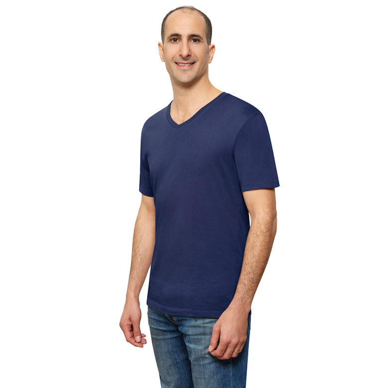 Navy Blue Organic Signatures T-Shirt For Men, V-Neck, Short-Sleeve (side view)