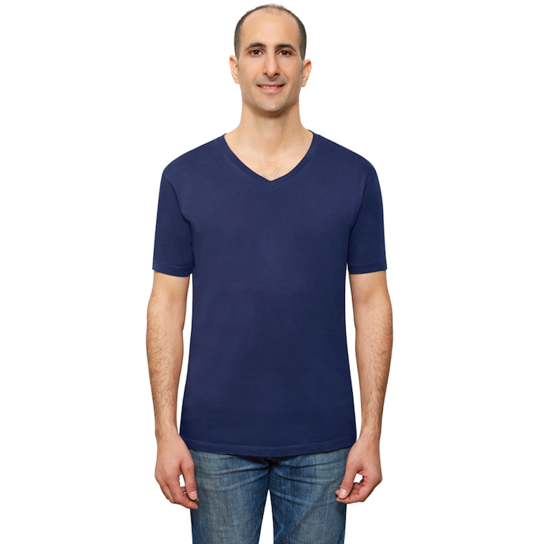 Navy Blue Organic Signatures T-Shirt For Men, V-Neck, Short-Sleeve (front view)