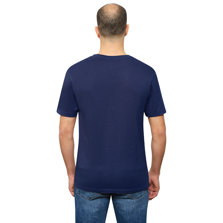 Navy Blue Organic Signatures T-Shirt For Men, V-Neck, Short-Sleeve (back view)