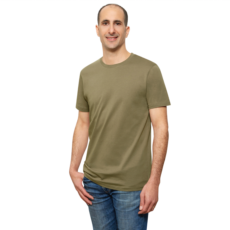 Olive Organic Signatures T-Shirt For Men, Crewneck, Short Sleeve (side view)