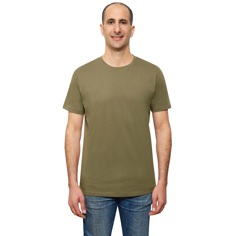 Olive Organic Signatures T-Shirt For Men, Crewneck, Short Sleeve (front view)