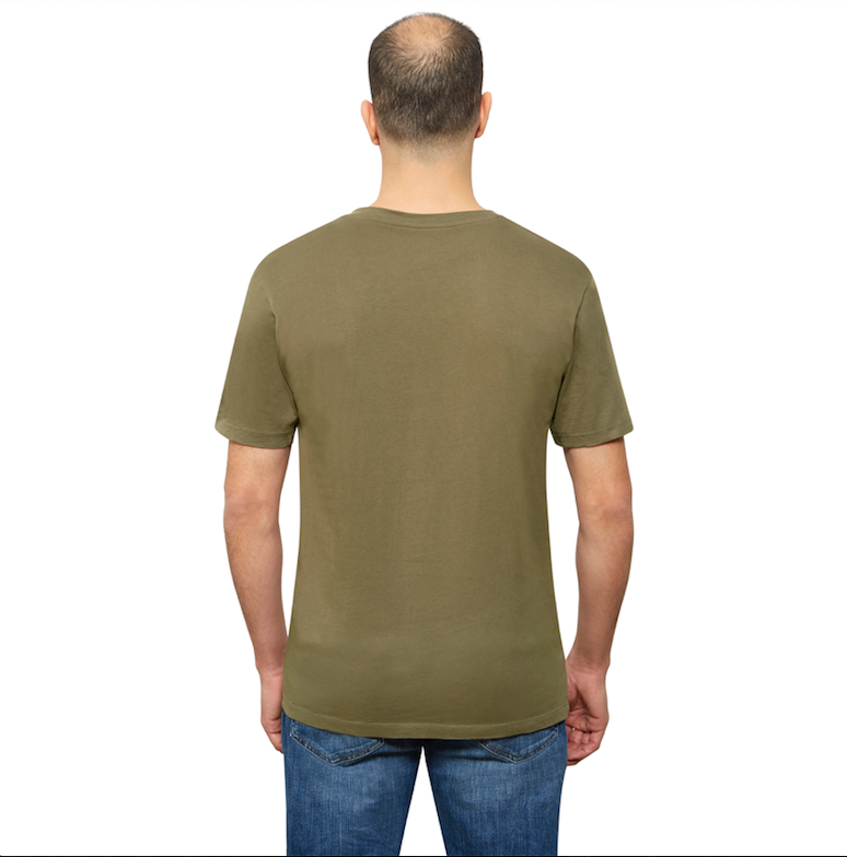 Olive Organic Signatures T-Shirt For Men, V-Neck, Short Sleeve (back view)