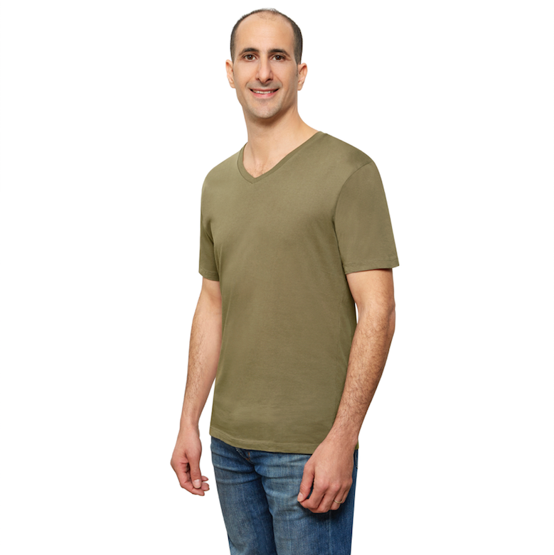 Olive Organic Signatures T-Shirt For Men, V-Neck, Short Sleeve (side view)