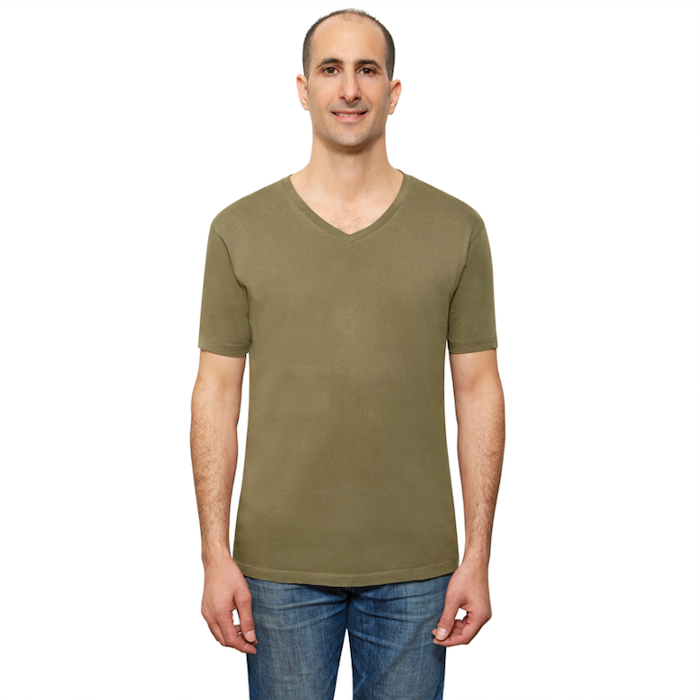 Olive Organic Signatures T-Shirt For Men, V-Neck, Short Sleeve (front view)