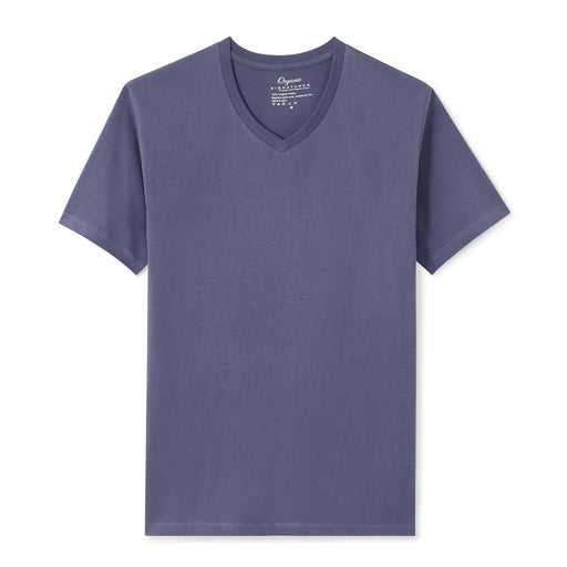 Blue Organic Signatures T Shirt for Men, V-Neck, Short Sleeve