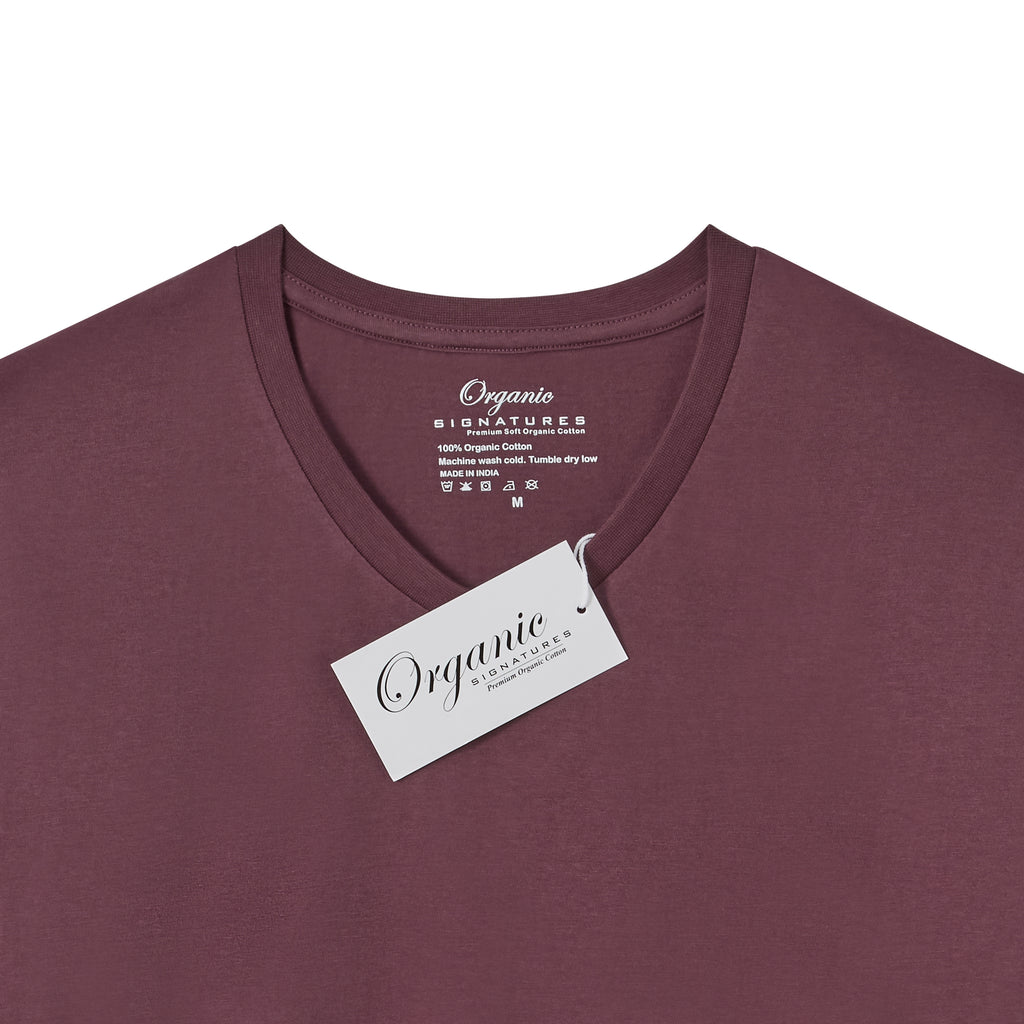 Burgundy Organic Signatures T Shirt for Men, V-Neck, Short Sleeve