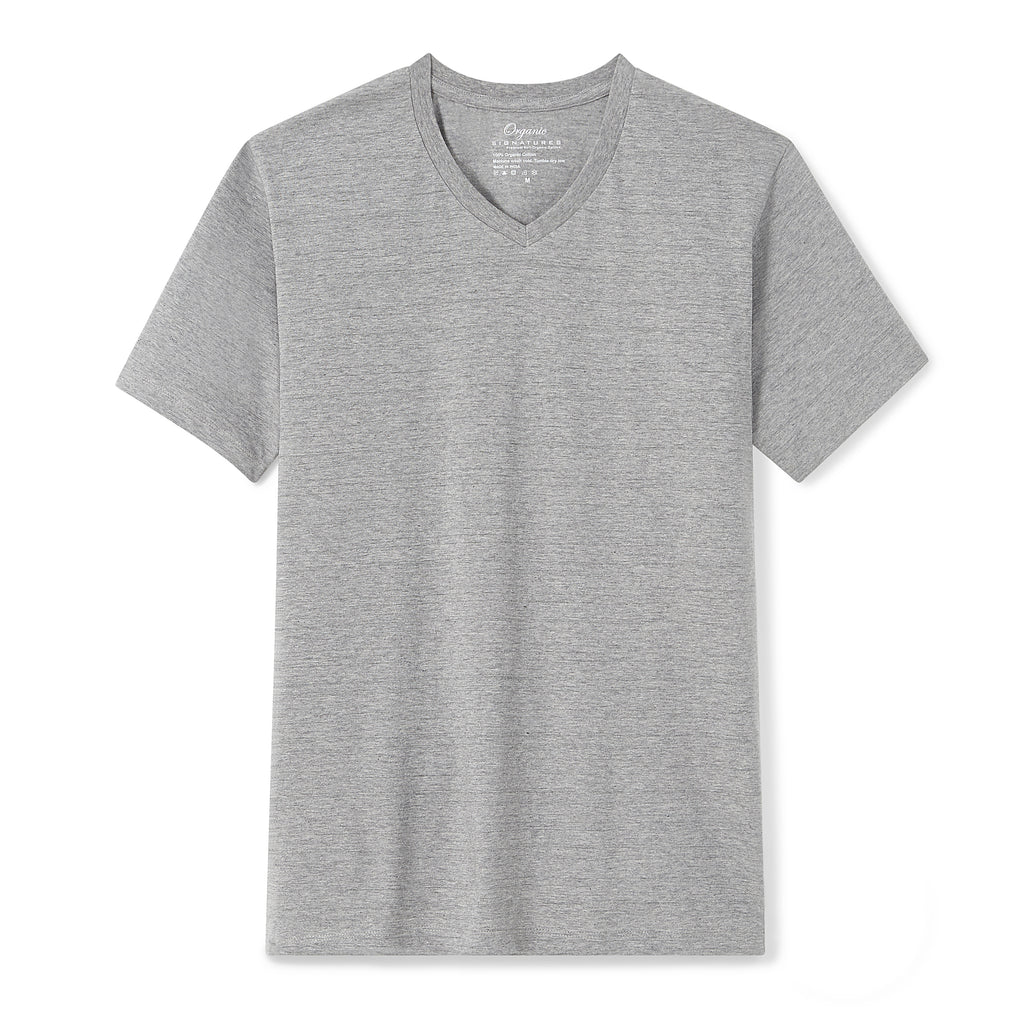 Heather Grey Organic Signatures T Shirt for Men, V Neck, Short Sleeve