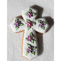 Cross with Purple and Pink Flowers