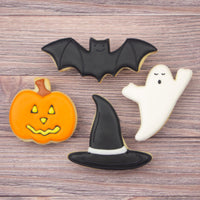 Halloween Bat and Witch Hat Cookies