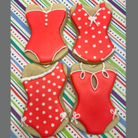 Red and White Polka Dot Bathing Suit Sugar Cookies