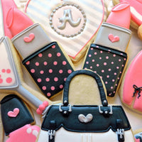 Pink Lipstick and Black Purse Sugar Cookies