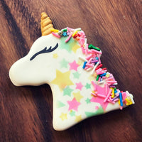 Unicorn Birthday Cookie with Stars and Sprinkles