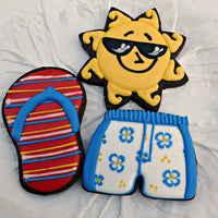 Sun Flip Flop and Swimming Suit Cookies