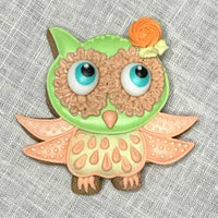 Owl Sugar Cookie with Orange and Green Frosting