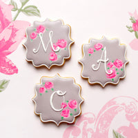 Initial Cookies with Gray and Pink Frosting