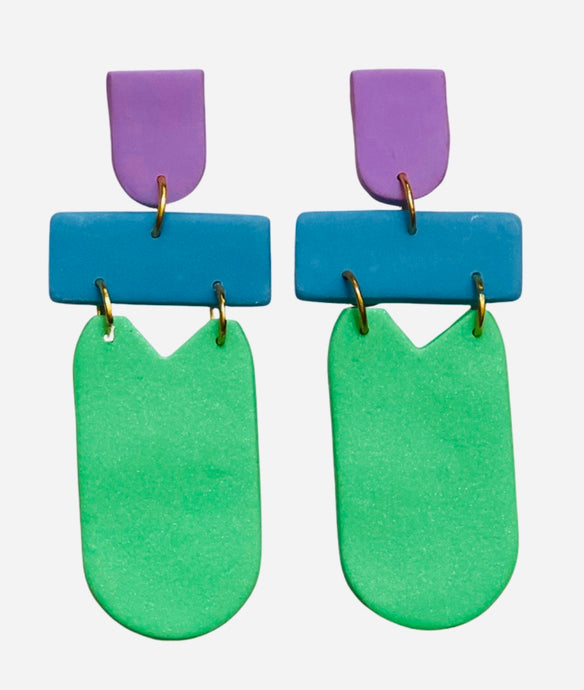 The Lila Dangle Earrings (Lilac, Blue, Green)