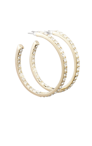 Gold Pave Hoops