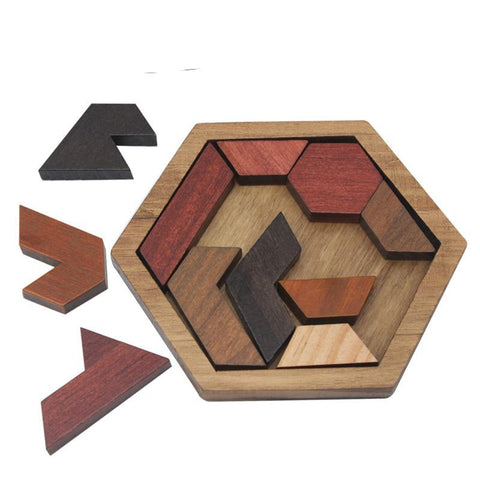 2D Wood Hexagonal Puzzle Creative Eccentric Unique