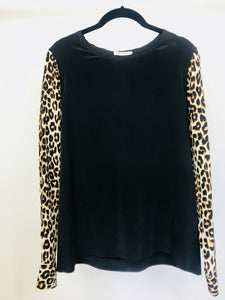 Equipment Silk Blouse | Leopard Print Sleeves (S, fits M)