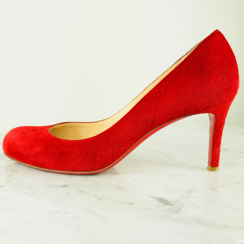 "Christian Louboutin Red Suede ""Simple Pumps"", 75mm (size 38.5, fits small)"