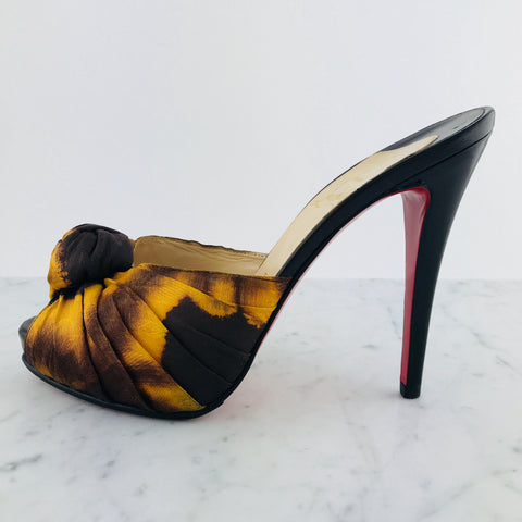 Christian Louboutin Top Knot Mules, Net 100mm (size 38 / fit small)