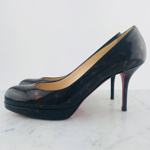 "Christian Louboutin Tortoise Patent ""New Simple"" Pump, 90m (size 38)"