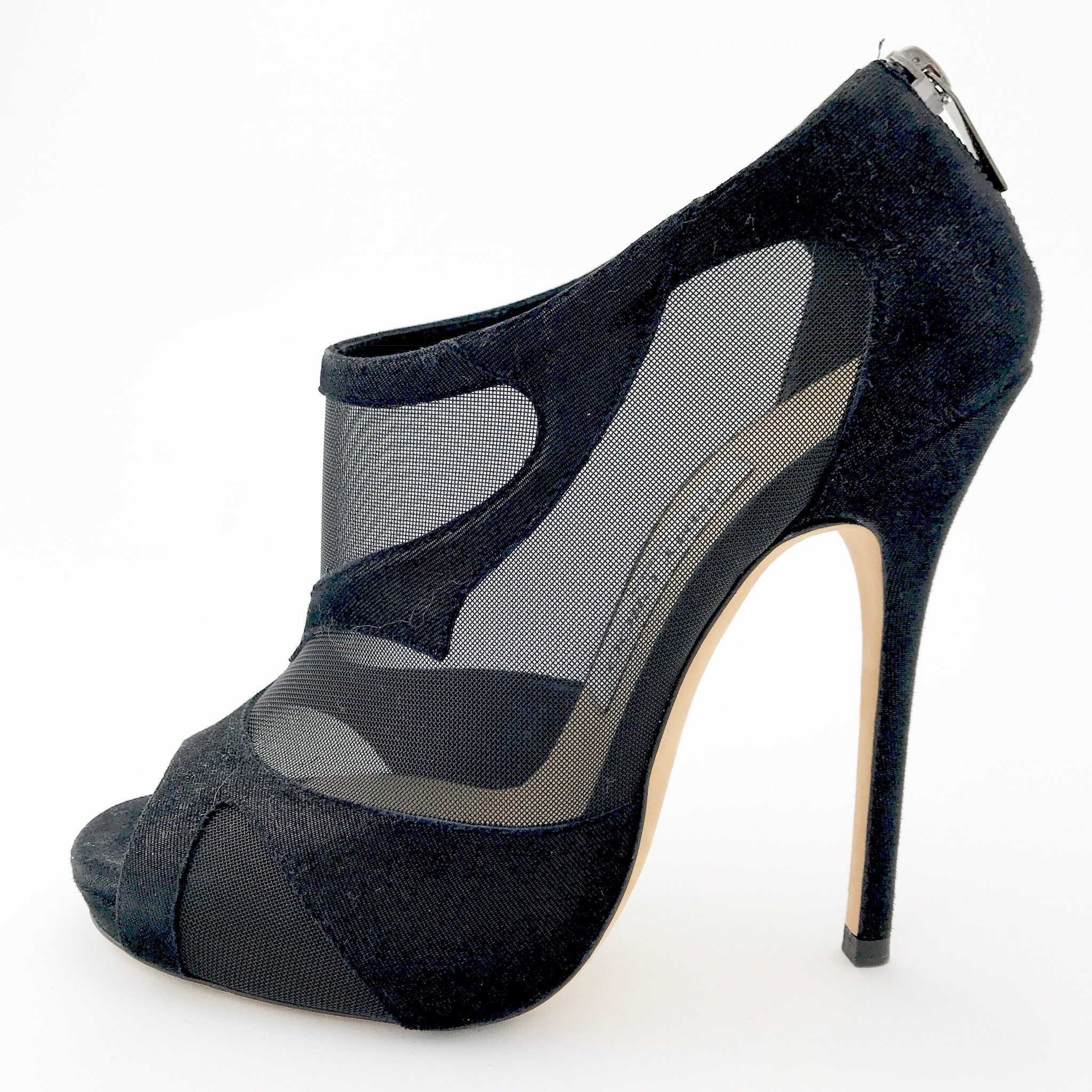 Jimmy Choo Black Suede, Mesh Cut Outs Bootie (37)