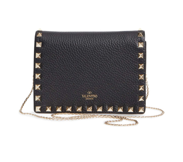 "Valentino Rockstud Leather Pouch Wallet on Chain (""WOC"")"