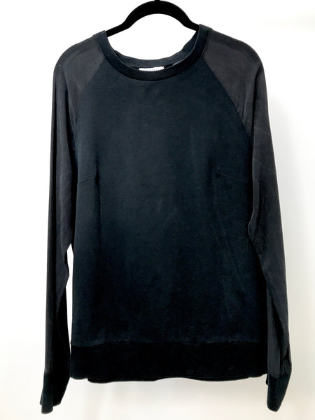 Equipment, Black Cotton & Silk Sweatshirt (M)