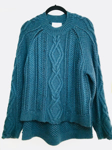 Phillip Lim Forest Green Cable-Knit Sweater (XS, but fits M)
