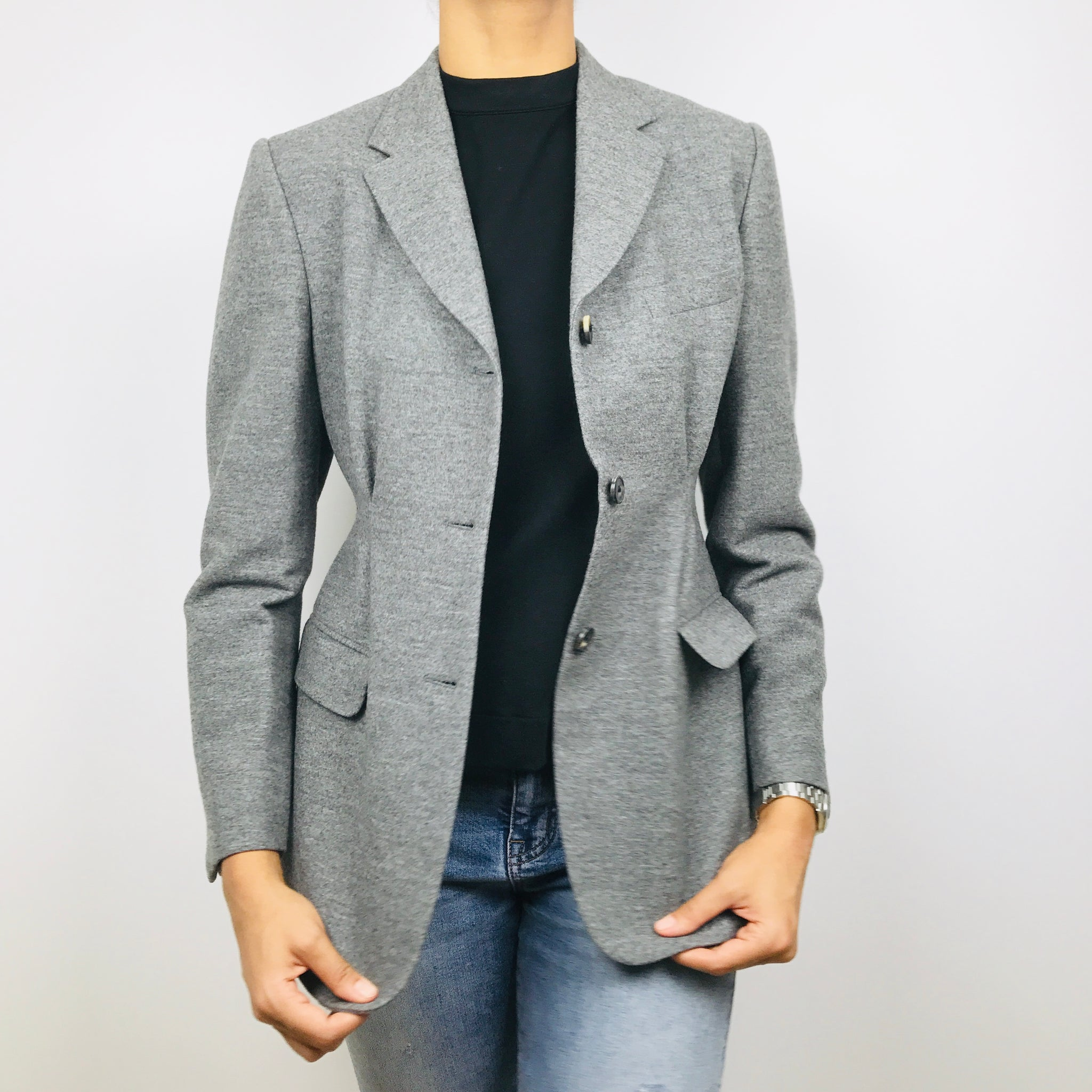 Dries Van Noten Grey Wool Blazer/Jacket | Cinched Waist (6)
