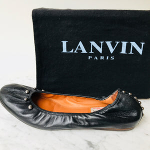 Lanvin Black Leather Studded Ballet Flats (38.5)