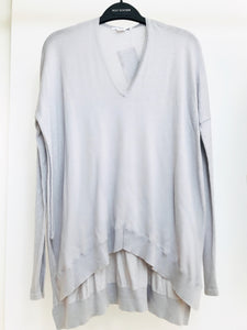 Helmut Lang Pale Grey V-Neck Sweater (P, fits M-L)