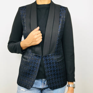 Sandro Black/Dark Navy Texutured Pattern Blazer (38)