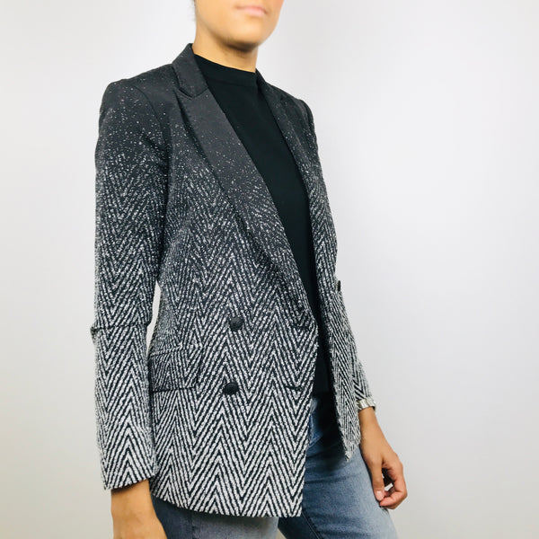Rag & Bone Black & White Chevron Ombre Blazer (6)