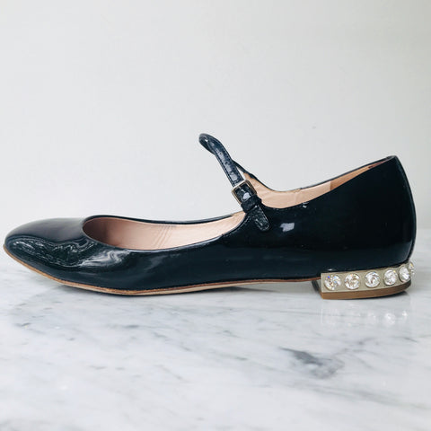 Miu Miu Crystal Heel Flats (size 38.5; but fit small)
