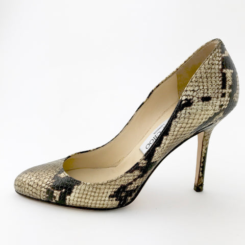 Jimmy Choo Metallic Gold & Black Snakeskin Embossed Pumps (size 36.5)