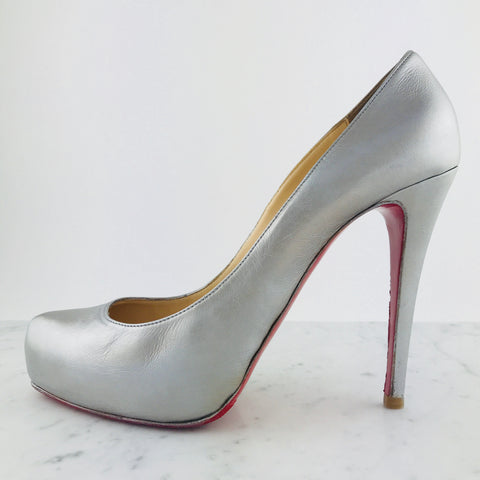 "Christian Louboutin Silver Leather ""Bianca Pumps"", Net 100mm (size 41 / fit small)"