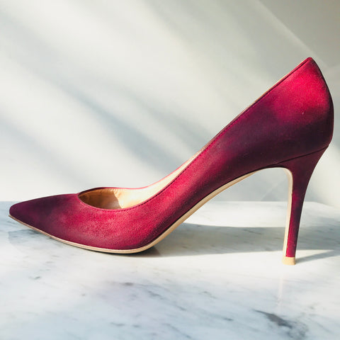 Gianvito Rossi Fuchsia Waxed Suede Pumps (39 / fit 38-38.5)