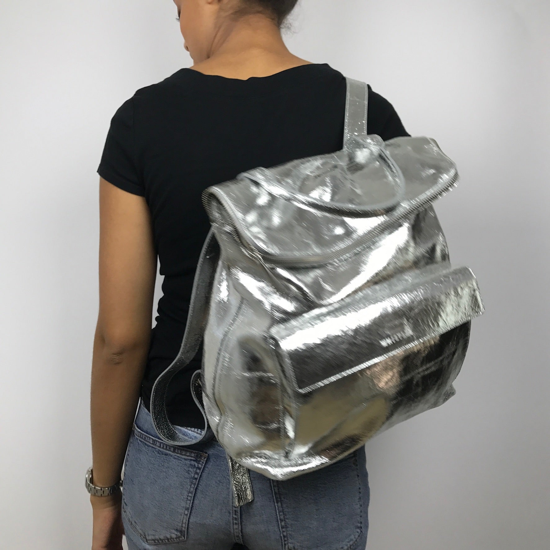 Whistlers Silver Metallic Crackled Leather Backpack